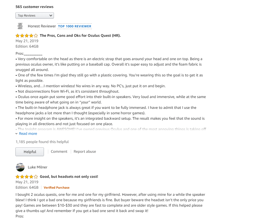 Top-rated reviews are very useful